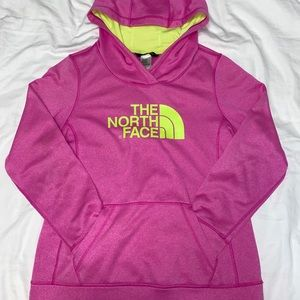 Pink/Neon Yellow Women's North Face Hoodie